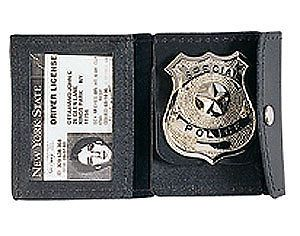 Universal Black Leather NYPD Police Security Badge ID Case Holder Snap Close