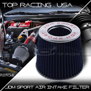 """Universal 2 5"""" 66mm High Flow Turbo Charger Cold Air Intake Filter Blue"""