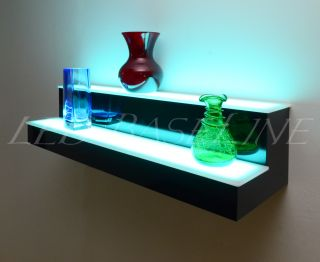 """44"""" LED Liquor Display Shelves 2 Tier Wall Mount Remote Color Changing Display"""