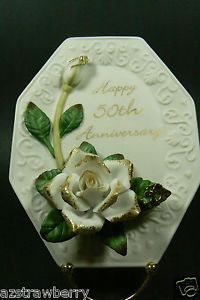 Roman 50th Wedding Anniversary Porcelain Rose Flower Plate Wall Plaque
