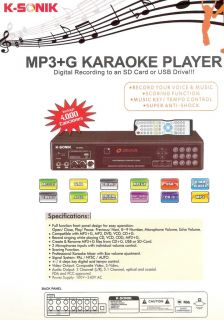 KS 2000 Karaoke Player 10000 Songs MP3 G English Canciones Wired Microphone