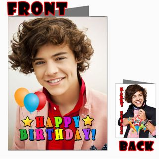 Harry Styles One Direction 1D Front Back Happy Birthday Picture Photo Card