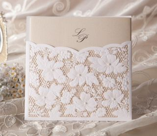 Lace Rhinestone Pearls Wedding Invitation Set for 100 Guests