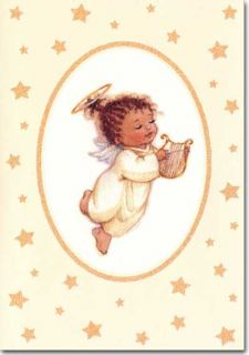 Angel with Harp 18 African American Boxed Christmas Cards by Image Arts