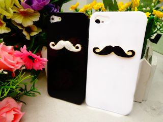 2pcs Glossy Chaplin Dumb Show Sexy 3D Mustache Case Cover for iPhone 5 5th Lover