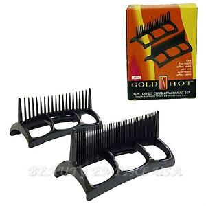 Belson Gold 'N Hot 2 Piece Offset Comb Attachment Set for Hair Styler Dryers New