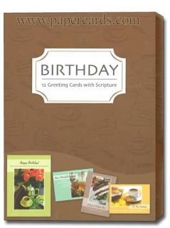 Time for Tea Scriptured Birthday Cards Box of 12