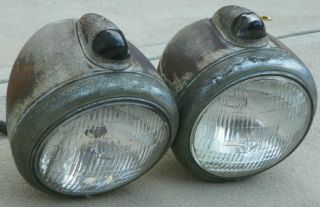 G M Guide Headlights with Top Turn Signal Lights Original Hot Rod Rat Rod