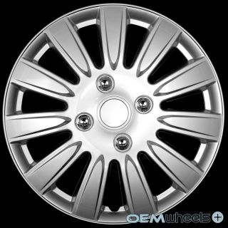 """4 New Silver 15"""" Hub Caps Fits Plymouth SUV Car ABS Center Wheel Covers Set"""