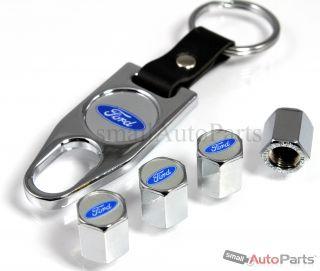 Ford Blue Logo Chrome Tire Wheel Stem Air Valve Caps Wrench Key Chain Gift Set