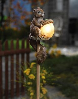 Sammy Squirrel Solar Power Outdoor Garden Yard Lawn Stake Light Up Acorn New