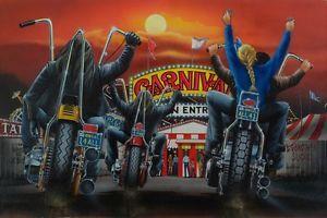 David Mann Art Carnival Print Easyriders Harley Davidson Circus Tent Chopper