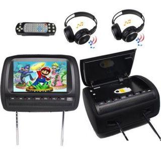 "Black Two 9"" Car Pillow Headrest DVD Player Radio Monitor 2X Headphone 2X Handle"