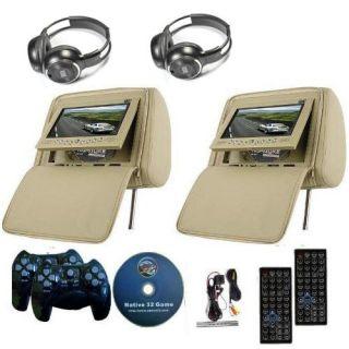 2X 7 inch Car Headrest DVD Player Radio TV Monitor Headphones Game Handles Beige