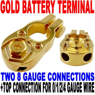 24K Gold Plated Positive Battery Terminal 2X8AWG 0 4AWG