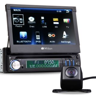 """7"""" Single 1 DIN in Dash Car Stereo Radio DVD Player Bluetooth Touch iPod Camera"""