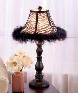 Zebra Stripes Sexy Jungle African Animal Print Feathered Lamp Table Home Decor