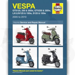 Haynes Service and Repair Manual for Vespa LX150 IE 2009 10