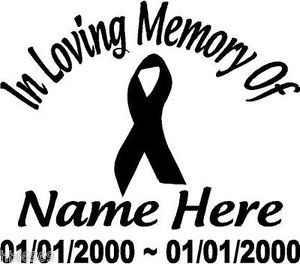 "In Loving Memory of Cancer Ribbon 10"" Decal Window Custom Memorial Car Decals"