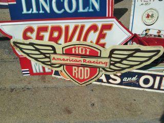 "American Racing Metal Sign 21"" Rat Rod Hot Rod Chevy Ford Dodge Wheels Garage"