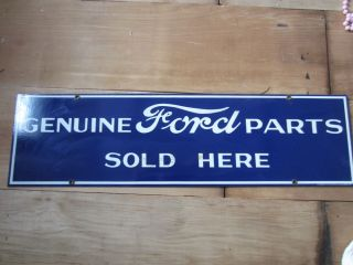 """Original Vintage """"Genuine Ford Parts Sold Here"""" Large Tin Advertising Auto Sign"""