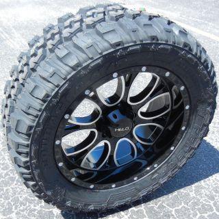 "20"" Black Helo 879 Wheels Rims Federal Couragia M T Tires Chevy Silverado Sierra"