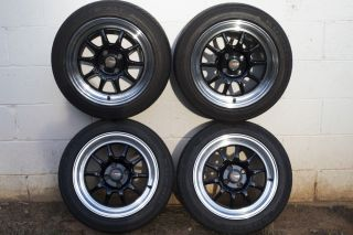4x100 15x7 Drag Dr 16 Wheels Black Polished Lip Kumho Ecsta 195 50R 15 Tires