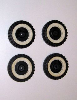 Vintage Tonka Toys Truck Whitewall Tires Set of 4 Black Tires