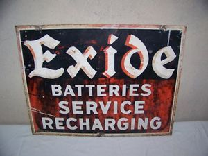 "Vintage 1955 Exide Batteries Car Battery 26"" Metal Gas Oil Sign Very Neat"