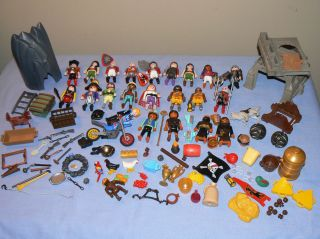 Big Lot Playmobil Figures Accessories Pirate Knight Soldier Egyptian Motorcycle