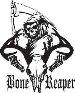 Bone Grim Reaper Bow Deer Skull Hunting Car Truck Window Vinyl Decal Sticker Gun