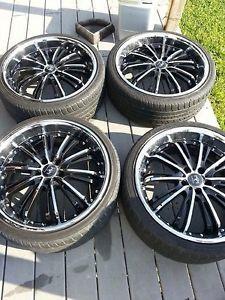 "20"" x 8 5"" Motiv Mystique 402CB 5x114 3 Chrome Black Wheels Rims"