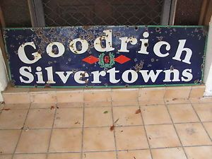 BF Goodrich Silvertowns Tires Porcelain Sign Motor Oil Gas Pump Filling Station
