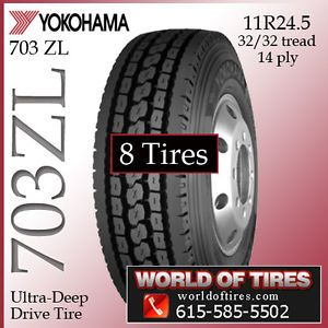 8 Tires Yokohama 703ZL 11R24 5 Semi Truck Tire 11R24 5 Tires 24 5 24 5 11 24 5