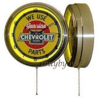 "15"" Genuine Chevrolet Parts Yellow Chevy Neon Clock New"