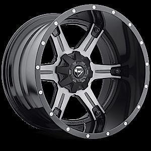 "20"" Fuel Offroad 2 PC Driller Black Machined Rims Truck Wheels Falken Tires"