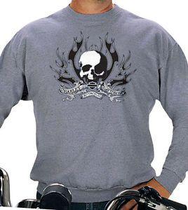 Harley Davidson Mens Shadow Skull Flames Grey Pullover Crew Sweatshirt