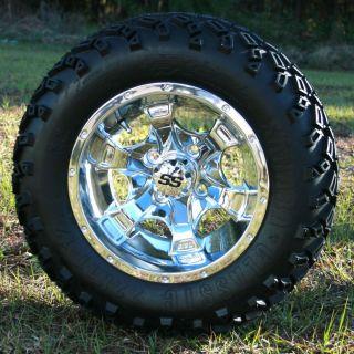 Sale Item 12x7 Chrome Tsunami Golf Cart Wheels and All Terrain Tires