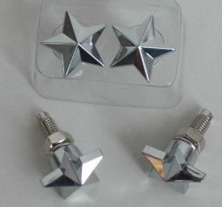 Chrome Motorcycle License Tag Plate Frame 4 Star Bolts Custom Lic Fastener Set