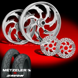 Assault Chrome Wheels Tires Rotors Pulley 2002 08 Harley V Rod 200 Tire