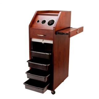 Locking Cherry Brown Salon Trolley Cart Hair Wood Beauty Salon Shelves Wheels