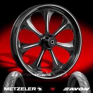 "Atomic Black 21"" Front Wheel Tire Package Kit 08 13 Harley Touring Bagger"