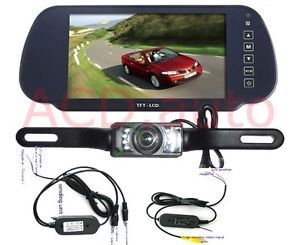 """7"""" TFT LCD Car Rearview Mirror Monitor 2 4G Wireless Night'Vision Reverse Camera"""