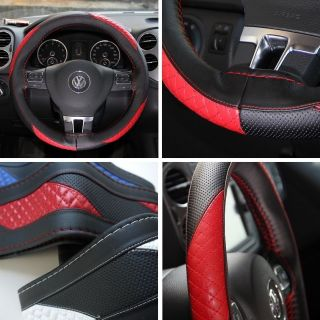 Leather Steering Wheel Wrap Cover 47010 Black Red Hummer Fiat Car Needle Thread