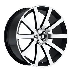 """22"""" Chrysler 300 SRT8 Black Mach Wheels Tires Fit Dodge Charger Magnum Challenge"""