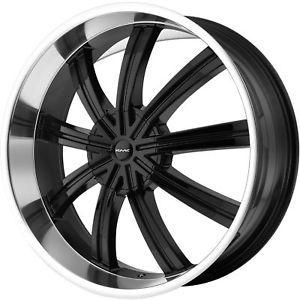 """26"""" Black KMC Widow Wheels Rims Chevy Tahoe Silverado Yukon Ford F150 Expedition"""