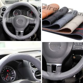New Leather Steering Wheel Wrap Cover 43006 Grey Hummer Fiat Car Needle Thread