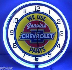 "Chevy 18"" Dual Neon Lighted Clock Parts Dealer Garage Bowtie Emblem Sign Camaro"