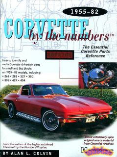 Corvette Parts Book by The Numbers Manual Reference Guide Chevrolet 1955 1982 C3