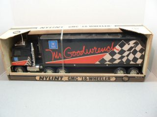 1980s Nylint Pressed Steel GMC 18 Wheeler GM Parts Tractor Trailer Truck w Box